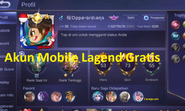 Akun Mobile Lagend (ML) Sultan dan Mythic Gratis 2020