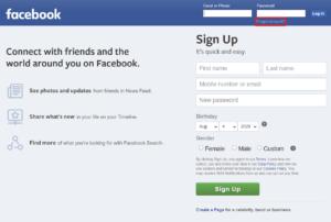 Lupa Kata sandi Facebook