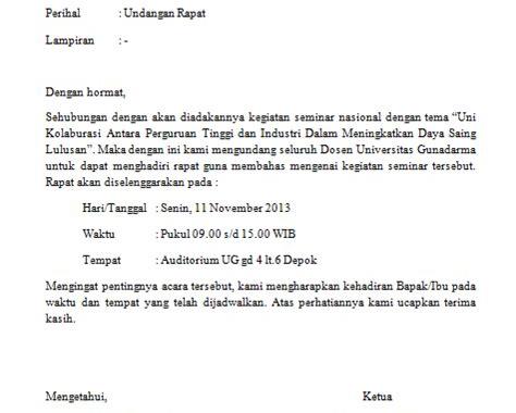 Contoh surat undangan setengah resmi rapat